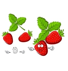 Red strawberry fruit cartoon character vector