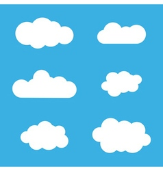 Cloud icons set white outline isolated on blue vector