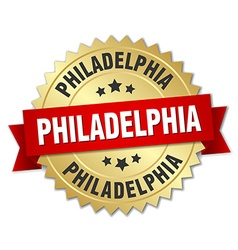 Philadelphia round golden badge with red ribbon vector