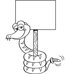 Cartoon snake holding a sign vector