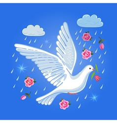 Soaring dove with flower in the clouds vector