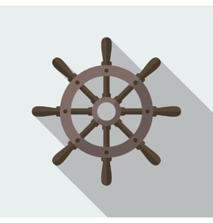 Ship helm flat icon vector