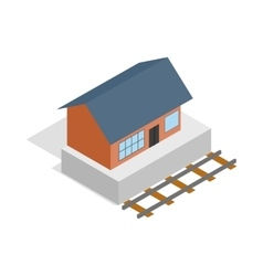 Train station building icon isometric 3d style vector