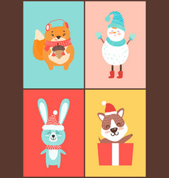 animals collection of cards on vector image