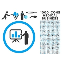 Bar chart presentation icon with 1000 medical vector
