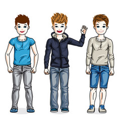 beautiful happy young teenager boys posing vector image