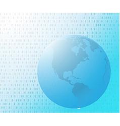 Binary code on world map vector image vector image
