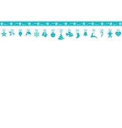 Blue snowflake border with hanging vector