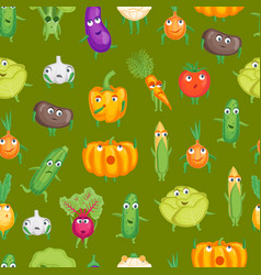 cartoon fresh healthy vegetables characters vector image vector image