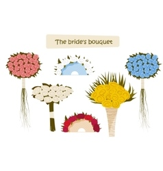 Collection of wedding bridal bouquets for the vector
