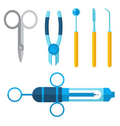 Dentist medical tools icons health care vector