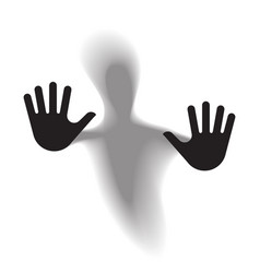 diffused silhouette body through frosted glass vector image vector image