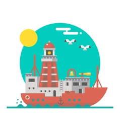 Flat design of lightship sailing vector image vector image