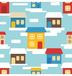 Flat seamless pattern with houses vector image