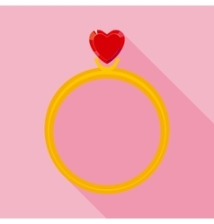 Golden ring with red valentine crystal heart in vector
