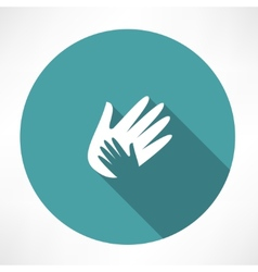 Hand holds hand icon vector