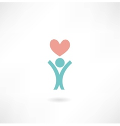 man with a heart icon vector image vector image