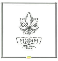 Medical marijuana logo black two vector