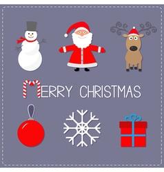 Merry Christmas set Snowman Santa Claus deer ball vector image