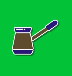 paper sticker on stylish background coffee turk vector image