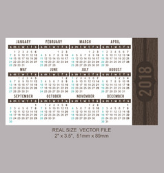 pocket calendar 2018 start on sunday vector image vector image