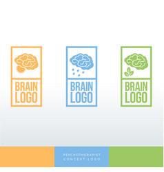 Psychologist logo brain emblem vector