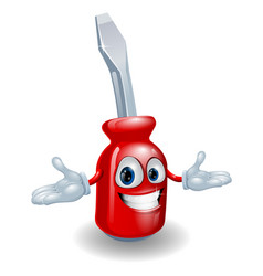 red screwdriver mascot vector image