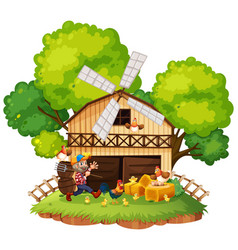 scene with farmer and chickens vector image vector image
