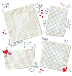 Scraps of paper isolated with hearts vector image vector image