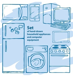 Set of hand-drawn household appliances and vector image
