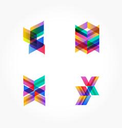 Set of minimal geometric multicolor shapes trendy vector