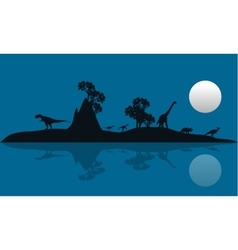 Silhouette of dinosaur in island vector