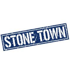 stone town blue square stamp vector image