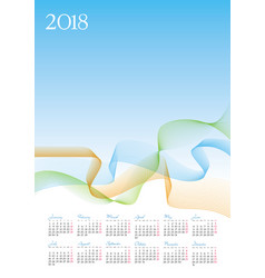 Template of 2018 calendar on blue background vector