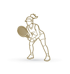 tennis player action woman play tennis outline vector image vector image