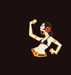 tribal belly dancer with cymbals holding vector image