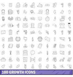 100 growth icons set outline style vector