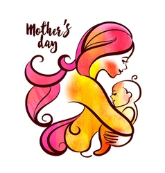 Watercolor beautiful mother silhouette with baby vector
