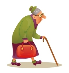 Funny elderly lady with glasses grandmother with vector