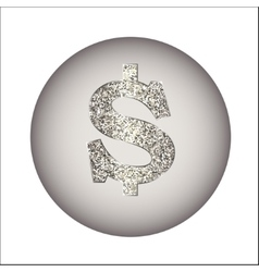 Dollar made of silver or platinum vector