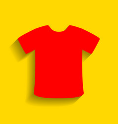 T-shirt sign  red icon with soft shadow on vector