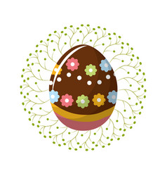cute easter egg with branches decoration vector image