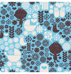 Seamless pattern with baby vector