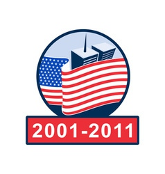 American flag with twin tower building 2001-2011 vector