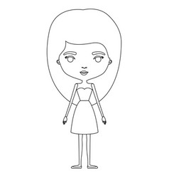 Silhouette caricature skinny woman in dress with vector