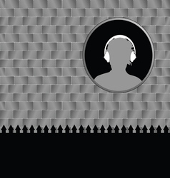 Man with headphones and brick wall vector