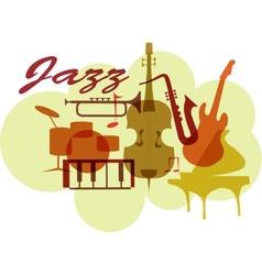 Colorful Jazz instruments set isolated on white vector image