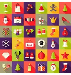 Big Christmas Squared Flat Icons Set 2 vector image