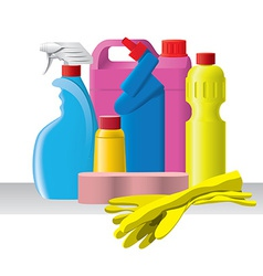 Group of detergents and cleaners vector