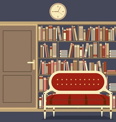 Reading Seat In Front Of A Huge Bookcase vector image
